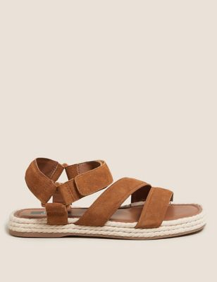 Leather Ankle Strap Flat Sandals