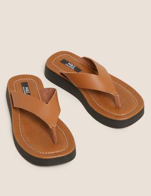 Leather Flatform Flip Flops