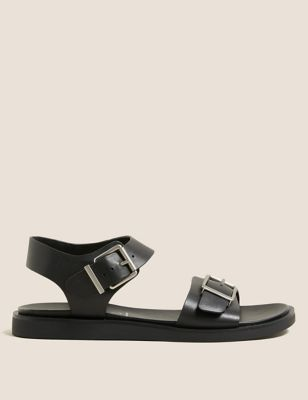 Leather Buckle Flat Sandals