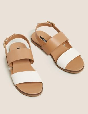Leather Buckle Ankle Strap Flat Sandals