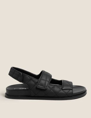 Leather Quilted Footbed Sandals