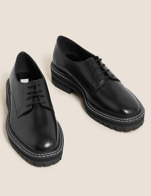 Leather Lace Up Flatform Loafers