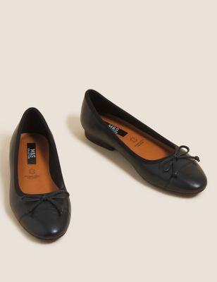 Leather Bow Ballet Pumps
