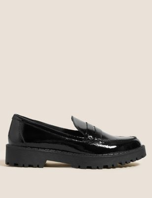 Leather Cleated Flatform Loafers