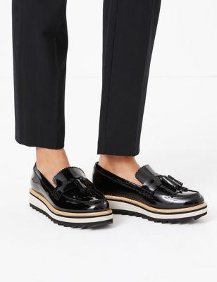 Leather Tassel Flatform Loafers