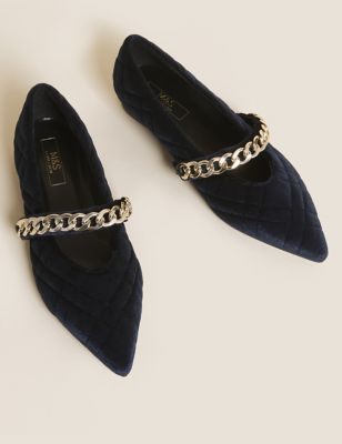 Velvet Quilted Pointed Ballet Pumps