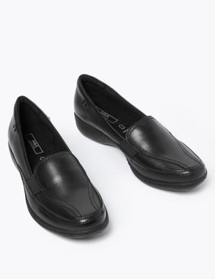 Leather Wedge Heel Loafers