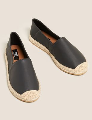 Leather Flat Espadrilles