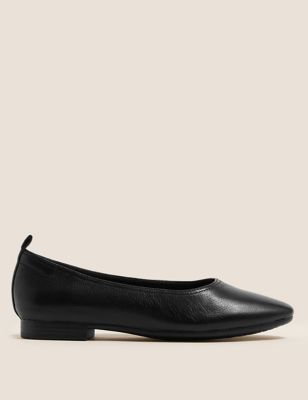 Leather Soft Toe Ballet Pumps