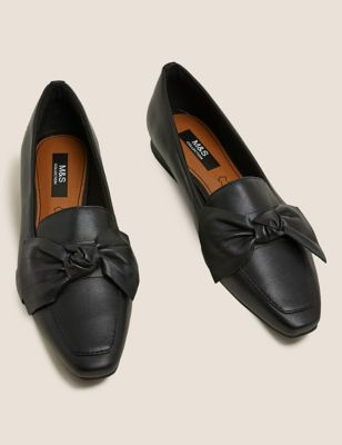 Leather Bow Flat Square Toe Loafers
