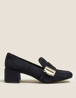 Suede Buckle Block Heel Loafers