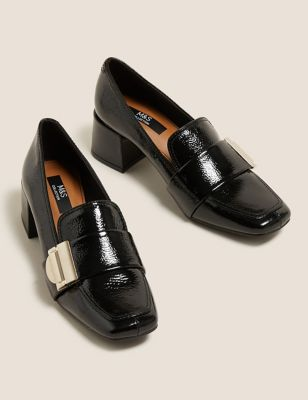 Leather Patent Buckle Block Heel Loafers