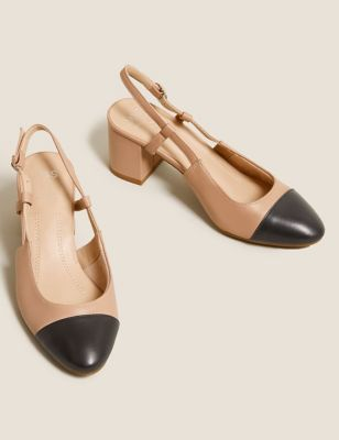 Leather Block Heel Slingback Shoes