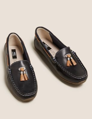 Leather Tassel Boat Shoes