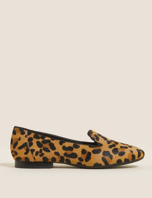Leather Leopard Print Square Toe Pumps