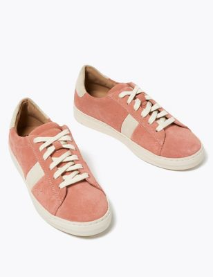 Suede Lace Up Side Stripe Trainers