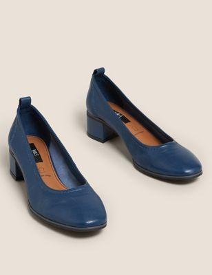 Leather Slip On Block Heel Court Shoes