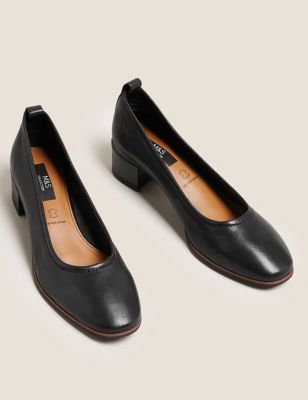 Leather Slip On Block Heel Court Shoes