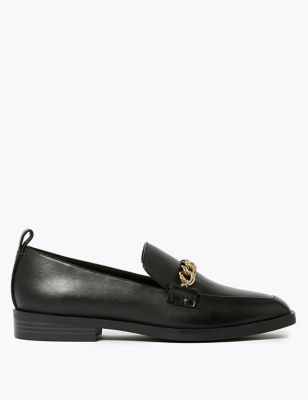 Leather Square Toe Loafers