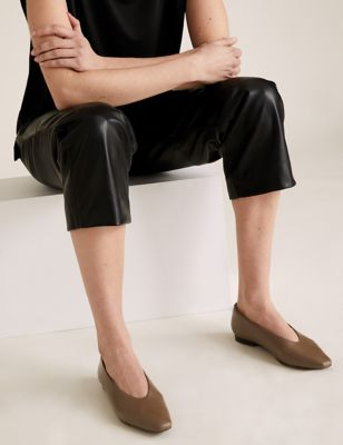 Leather Flat Chisel Toe Ballerina Pumps