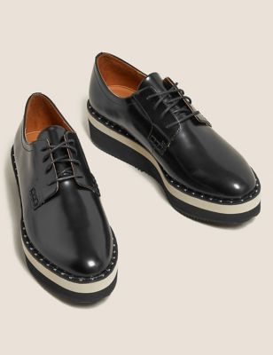 Leather Lace Up Flatform Brogues