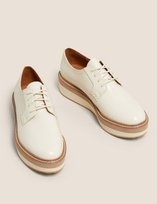 Leather Lace Up Flatform Shoes
