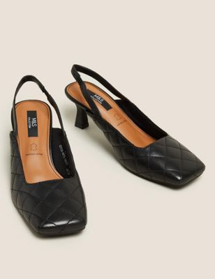 Leather Quilted Square Toe Slingback Shoes
