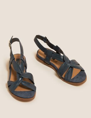 Wide Fit Leather Knot Gladiator Sandals