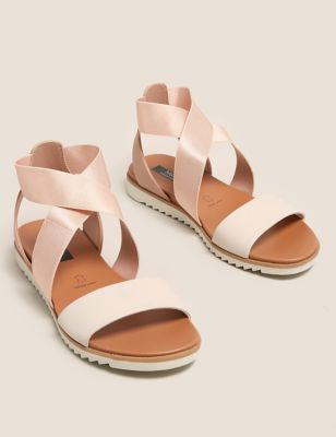 Wide Fit Leather Ankle Strap Flat Sandals