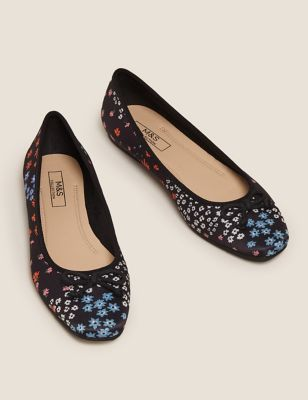 Satin Floral Flat Ballet Pumps