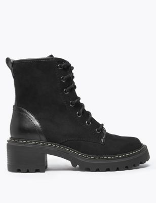 Hiking Block Heel Lace Up Ankle Boots