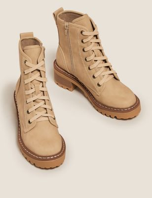 Hiker Lace Up Block Heel Ankle Boots