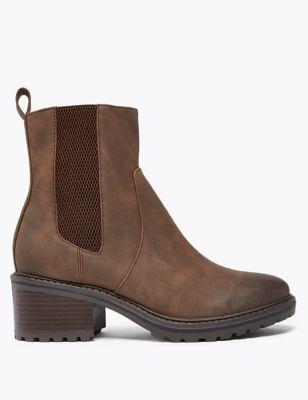 Chelsea Block Heel Ankle Boots