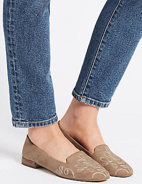 Embroidered Pumps, TAUPE, catlanding