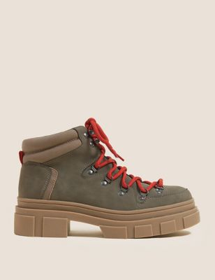 Chunky Hiker Lace Up Ankle Boots