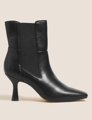 Stiletto Heel Square Toe Chelsea Boots