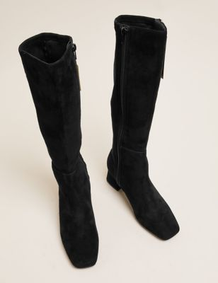 Suede Block Heel Square Toe Knee High Boots
