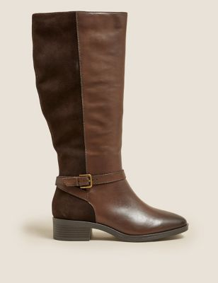 Wide Fit Leather Block Heel Knee High Boots
