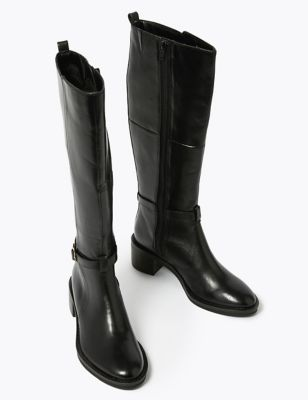 Leather Buckle Knee High Boots