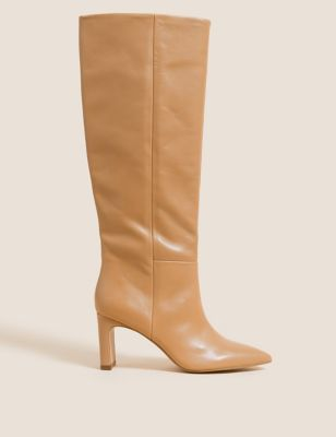 Leather Stiletto Heel Knee High Boots