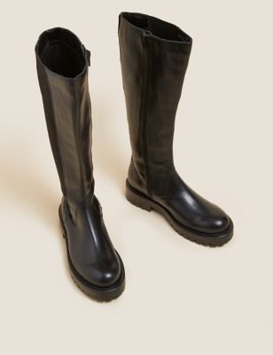 Leather Chunky Chelsea Knee High Boots