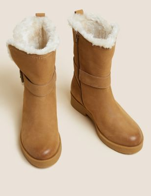 Wide Fit Leather Faux Fur Lined Ankle Boots