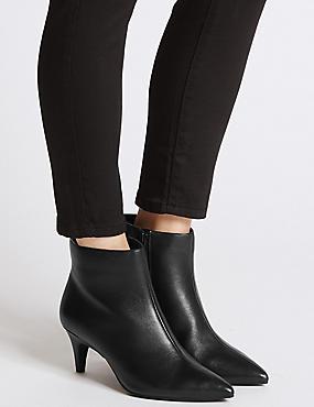 Wide Fit Suede Kitten Ankle Boots, BLACK, catlanding