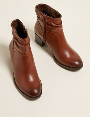 Wide Fit Leather Ruched Ankle Boots