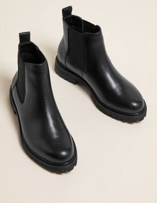 Wide Fit Leather Chelsea Ankle Boots