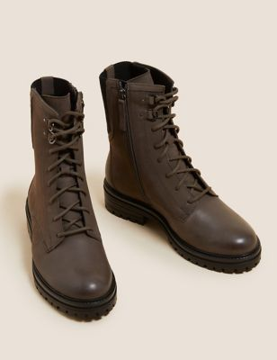 Wide Fit Leather Lace Up Flat Ankle Boots
