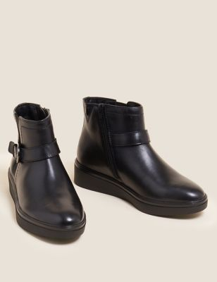 Wide Fit Leather Wedge Ankle Boots