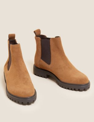 Wide Fit Suede Chelsea Ankle Boots