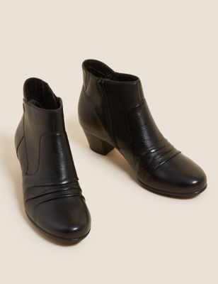 Wide Fit Leather Block Heel Ankle Boots