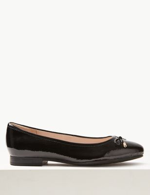 Wide Fit Leather Bow Pumps
